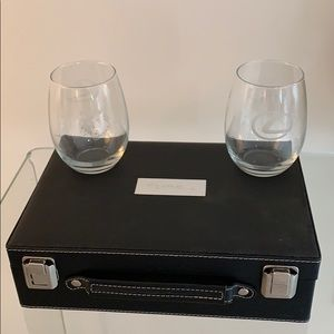 Wine accessory leather chest with glass tumblers